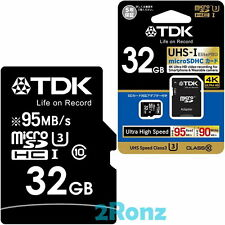 TDK ElitePRO U3 32GB 32G Micro SDHC SD Flash Card Mobile TF UHS-I C10 95MB/s