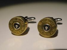 .338 Win Mag Cufflinks -- Ammo Ammunition Brass Bullet Caliber Super Magnum