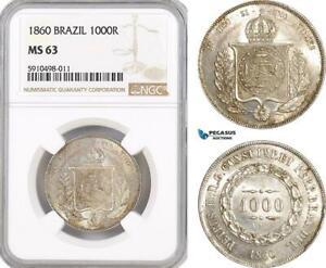 AF840, Brazil, Pedro II, 1000 Reis 1860, Silver, NGC MS63