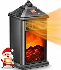 Portable Space Heater with Realistic Flame Led Display Remote Timer TipOver Safe