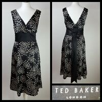Ted Baker Black Taupe Silk Belted Fit And Flare Dress Size UK 12