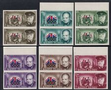 More details for maldive islands 1966 winston churchill all 6 stamps in imperforate pairs mnh