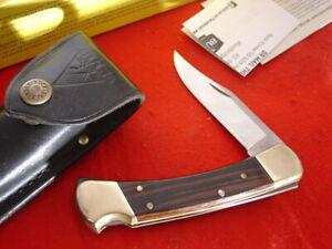 """Buck USA FOLDING HUNTER 110 5"""" 1997 Lockback Knife + Box & Sheath"""