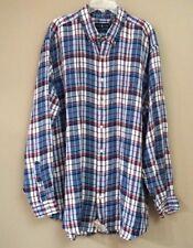 Polo Ralph Lauren Men's Big and Tall Blue Plaid Linen Long Sleeve Shirt Sz 2XLT