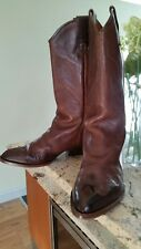 UNISEX CAMPER Cowboy Western SADDLE BROWN Leather Boots Size 43 UK 8/8.5