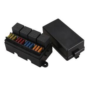 12 Way Blade Sicherungshalter Box mit Flachstecker und Sicherung 4PCS 4Pin  V5U3