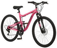 Mongoose Major Mountain Bike, 26-inch wheels, 21 speeds, pink, womens style fram