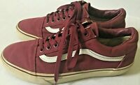 vans old skool low burgundy White Strip Mens Size 8.5