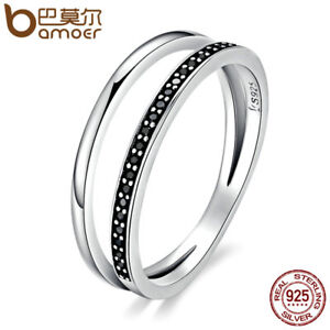 Bamoer .925 Sterling Silver Ring With Clear CZ Black And White Movement Jewelry