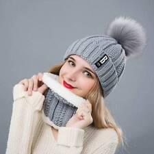 2Pcs Scarf Hat Set Women Winter Warm Solid Pompoms Knitted Soft Caps Scarves