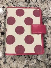 "COMPACT ~ 1.0"" Pink & White Polka dots Canvas Franklin Covey 365 Planner BINDER"