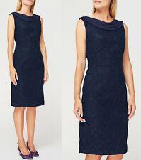 Jacques Vert NEU Paloma Lace Drape Midi Kleid Marineblau Größen 8 bis 24