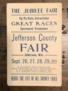 Jefferson County Fair Advertising 1905 Jefferson WI