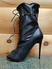 Mona Mia Alectrona Open Toe Preforated Drawstring Mid Calf Boot 7-11 Black