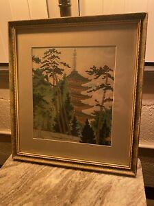 Japanese Wood Block Print Title: Daigo Pagoda by T Kamei