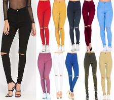 WOMEN HIGH WAISTED RIPPED JEANS KNEE CUT SKINNY JEGGINGS LADIES COLOURED 6 TO16