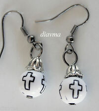 cute - black cross white beaded earrings