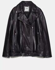 zara  leather biker jacket M NEW Longline