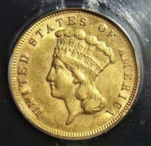 1878 Gold $3 AU53 ICG.