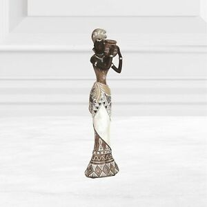 African Lady Ornament Figurine White Brown Dress Gift Statue Home Decor 27cm
