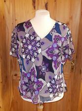 purple black blue grey ivory floral paisley chiffon short sleeve tunic top 26 54