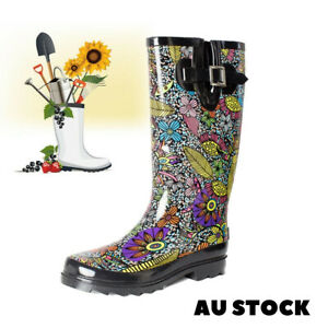 SheSole Women's Floral Printed Natural Rubber Rain Boots Gumboots for Gardening