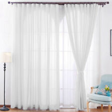 Pair/2 Panel Lucy Voile Slot Top Panels Pelmets Net & Voile Curtains White Lined