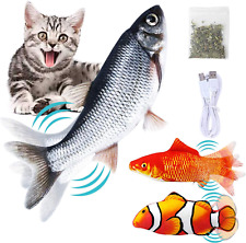 3 Pack Electric Moving Fish Cat Toys, Realistic Flopping Simulation Fish