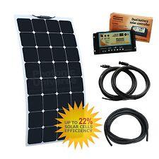 Batería 100W Flexible etilenotetrafluoretileno Dual Kit de Carga Solar-Autocaravana Camper, barco, RV,