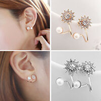 1Pair Women Fashion Jewelry Lady Elegant Pearl Rhinestone Ear Stud Earrings