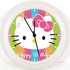 "Hello Kitty Birthday Wall Clock 10"" Nice For Gift Home Office Wall Decor W36"