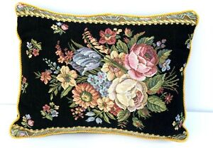 Black Tapestry Needlepoint PILLOW Floral gold trim cover Roses Cottagecore