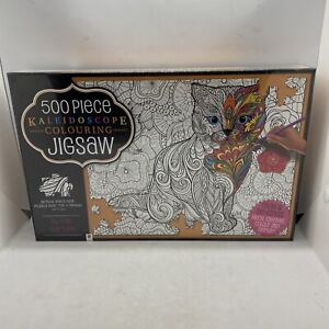 500 Piece Kaleidoscope Colouring Puzzle Cat Relax & De-Stress New Sealed