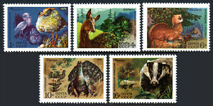 Russia 4361-4365, MNH. Berezina River and Stolby wildlife reservations, 1975