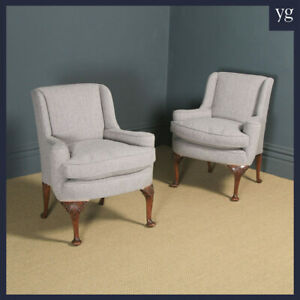 Antique English Pair of Georgian Style Grey Upholstered Beech Arm Chairs