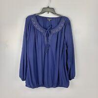 Lane Bryant Blue Keyhole Blouse Womens Size 22/24