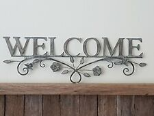 DISTRESSED GREY METAL WELCOME WALL ART PLAQUE