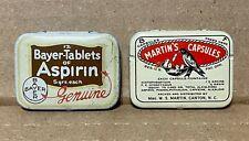 Vintage Medical Drug Tins lot of 2 MARTIN'S CAPSULES & BAYER-TABLETS Aspirin EX