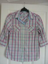 CREW CLOTHING PINK IVORY BLUE CHECK STRIPE TRIM SHIRT UK 12, EUR 38-40, US 8 FAB