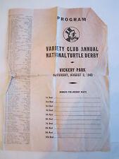 1940 VARIETY CLUB ANNUAL NATIONAL TURTLE DERBY PROGRAM - RH-6