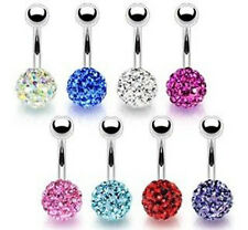 8pcs Multi-Crystal Ferido Gem Belly Rings Wholesale Lot Navel naval (B278)
