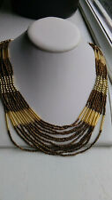 STRIKING GOLD & BROWN TONE MULTI STRAND HEAVILY BEADED STATEMENT NECKLACE