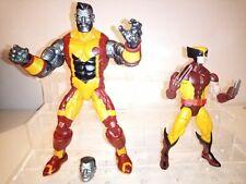 Marvel Legends Wolverine retro Brown Costume & Colossus X-Men action figure lot