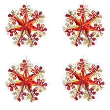 Red / Gold Christmas 2 Tone Foil Ceiling Decoration - Set 4 40cm Star Snowflakes