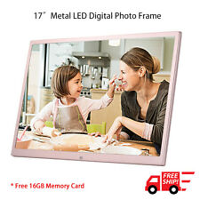 """17"""" LED Digital Photo Metal Frame Electronic Picture Album Remote 16GB SD Card"""