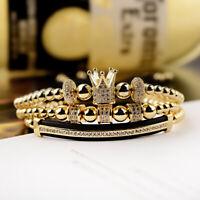 New Luxury Jewelry Women Men's Micro Pave CZ Crown Braided Adjustable Bracelets