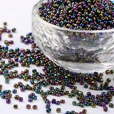 LOT 1000 PERLES DE ROCAILLE VIOLET BLEU VERT IRISE Ø 2 mm 12/0 CREATION BIJOUX