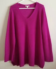 Eileen Fisher Organic Linen Sweater size Large L Pink Ribbed Knit Tunic Pullover