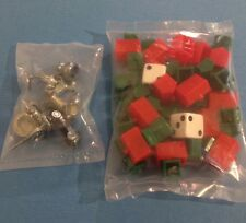 New Monopoly Replacement Pieces Parts 8 Tokens 50 Houses 22 Hotels 2 Dice