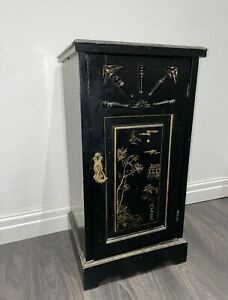Antique Chinese Cabinet Chinoiserie Black Lacquered Gold Oriental Cupboard